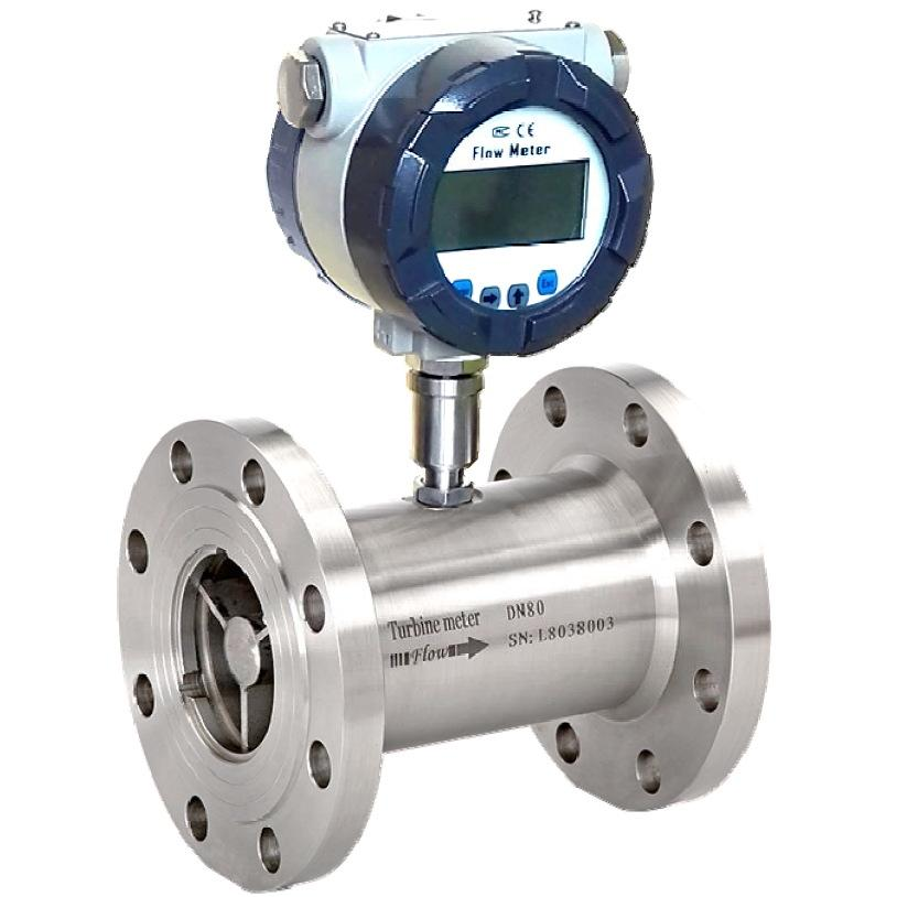 Battery operated liquid turbine flow meter