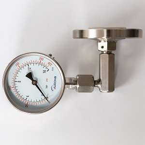 Diaphragm seal pressure gauge with angle